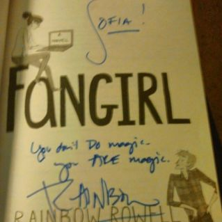 Signing my other copy of Fangirl