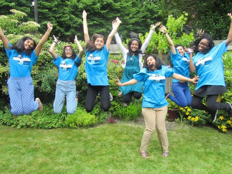 Here's a picture of me and my friends wearing our t shirts that we won! Also look at my failure in this photo *facepalm*